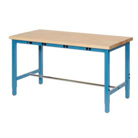 "607262BBL 72""W x 36""D Production Workbench with Power Apron - Maple Butcher Block Safety Edge - Blue"