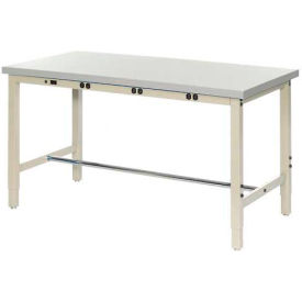 "249185BTN 60""W x 24""D Production Workbench with Power Apron - Plastic Laminate Square Edge - Tan"