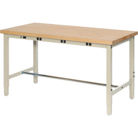 "606988BTN 96""W x 30""D Production Workbench with Power Apron - Maple Butcher Block Square Edge - Tan"