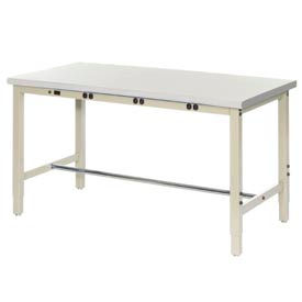 "607267BTN 72""W x 30""D Production Workbench with Power Apron - ESD Laminate Safety Edge - Tan"