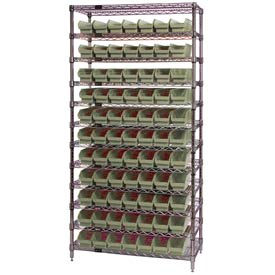 "268972BG Chrome Wire Shelving with 77 4""H Plastic Shelf Bins Stone, 36x18x74"