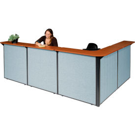 "249011CB L-Shaped Reception Station, 116""W x 80""D x 44""H, Cherry Counter, Blue Panel"