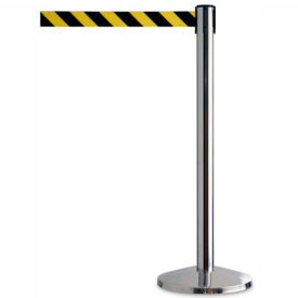 "QWAYPOST-1P-D4 Crowd Control Stanchion, 39""H Stainless Steel Post, 7-1/2 Yellow/Black Retractable Belt"