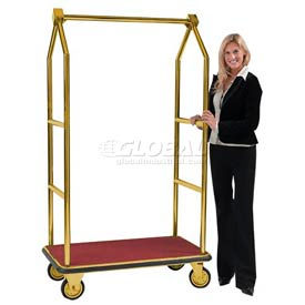 aarco easy-roll brass bellman hotel luggage cart lc-2b 42 x 24 Aarco Easy-Roll Brass Bellman Hotel Luggage Cart LC-2B 42 x 24