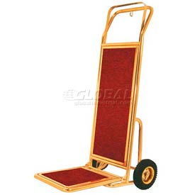 aarco deluxe brass hotel luggage hand truck ht-2b with carpeted deck