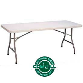 "FS3096 Correll Folding Table - Blow Molded Rectangle - 30""x 96"" - Gray"