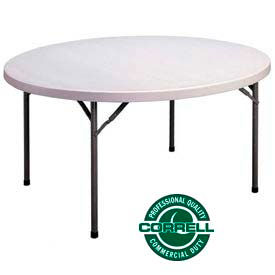 "FS48R Correll Folding Table - Blow Molded Round - 48"" - Gray"