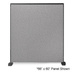"SP6648-2EC-2T 66"" H X 48"" W Pewter Haze Freestanding Office Partition Panel with Charcoal Frame"
