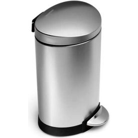 CW1834 simplehuman; Mini Semi Round Step Can - 1-3/5 Gallon Brushed SS