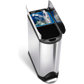 CW2017 simplehuman; Butterfly Recycling Step Can - 10-1/2 Gallon Brushed SS