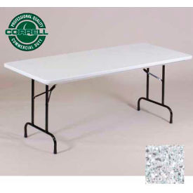"R2448-23 Correll Folding Table - Blow Molded - 24"" x 48"", Gray Granite"