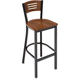 BR3315B-WL KFI - BE3315B-WL - Metal Cafe Barstool with Wood Seat and Back Walnut
