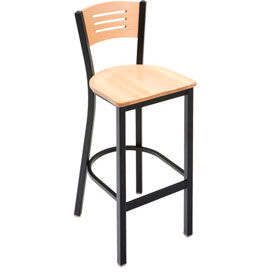 BR3315B-NA KFI - BR3315B-NA - Metal Cafe Barstool with Wood Seat and Back Natural