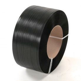 "58H.80.0154 Polypropylene Strapping 5/8"" x .030"" x 5,400 Black 16"" x 6"" Core"