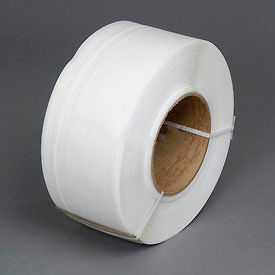 "38M.30.3212 Polypropylene Strapping 3/8"" x .022"" x 12,900 White 9"" x 8"" Core"
