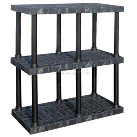 "AS4824X3 Structural Plastic Adjustable Vented Shelving, 48""W x 24""D x 45""H, Black"