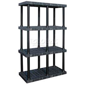 "AST4824X4 Structural Plastic Adjustable Solid Shelving, 48""W x 24""D x 72""H, Black"