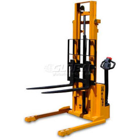 "S22-116 Big Joe; S22 Fully Powered Straddle Stacker 2200 Lb 116"" Lift Forks Inside"
