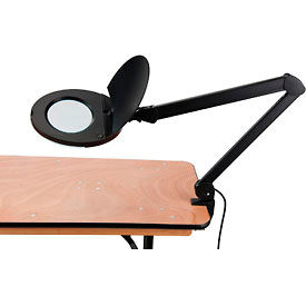 6025-8 8 Diopter LED Magnifying Lamp With Covered Metal Arm, Black