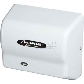 american dryer advantage series hand dryer w/ universal voltage 100-240v - white abs ad90 American Dryer Advantage Series Hand Dryer W/ Universal Voltage 100-240V - White ABS AD90