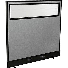 "694755WEGY Electric Office Partition Panel with Partial Window, 48-1/4""W x 46""H, Gray"