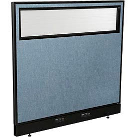 "694755WEBL Electric Office Partition Panel with Partial Window, 48-1/4""W x 46""H, Blue"