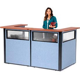 "694902WCB U-Shaped Reception Station with Window, 88"" W x 44""D x 44""H, Cherry Counter, Blue Panel"