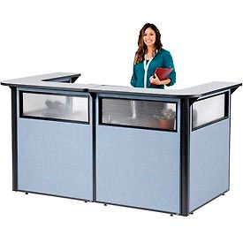 "694905WGB U-Shaped Reception Station with Window, 88"" W x 44""D x 44""H, Gray counter, Blue Panel"
