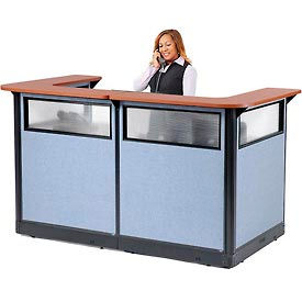 "694906WNCB U-Shaped Reception Station with Window and Raceway, 88""W x 44""D x 46""H, Cherry Counter"