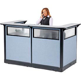 "694907WNGB U-Shaped Reception Station with Window & Raceway, 88""Wx 44""Dx 46""H, Gray Counter/Blue Panel"