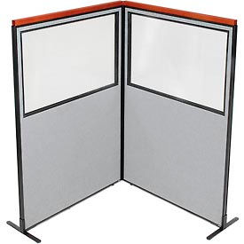 "695018GY Deluxe Freestanding 2-Panel Corner Divider with Partial Window, 48-1/4""W x 73-1/2""H, Gray"