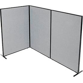 "695054GY Freestanding 3-Panel Corner Room Divider, 48-1/4""W x 72""H Panels, Gray"
