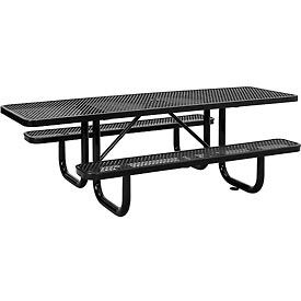 695289BK 8 ft. ADA Outdoor Steel Picnic Table - Expanded Metal - Black