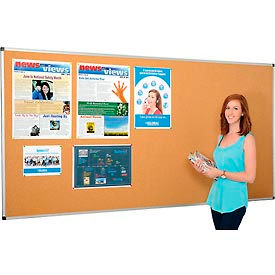 695320-Large Cork Bulletin Board - 96 x 48 - Aluminum Frame