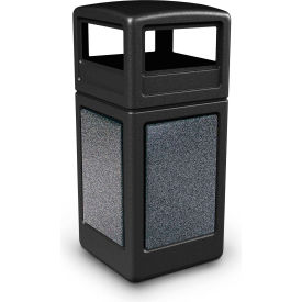 72041399 42 Gallon StoneTec; 72041399 Square Receptacle with Dome Lid - Black w/Pepperstone Panels