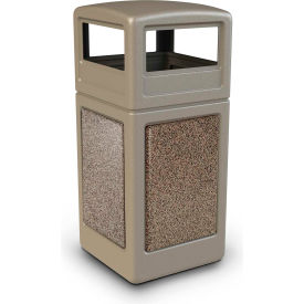 72041599 42 Gallon StoneTec; 72041599 Square Receptacle with Dome Lid - Beige w/Riverstone Panels