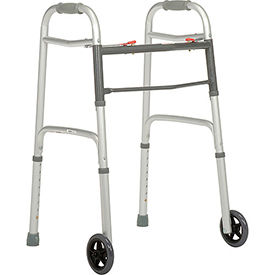 "ZK-AR-010 Global; Portable Folding Walker with 5"" Wheels, Silver"