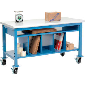 244205A Mobile Packaging Workbench Plastic Safety Edge - 60 x 30 with Lower Shelf Kit