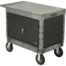 "800327-Industrial Strength Plastic 2 Flat Shelf Maintenance & Utility Cart, 44? x 25-1/2?, 8"" Pneumatic whl"