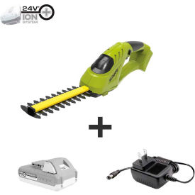 sun joe 24v-sseg-lte 24v ion+ cordless handheld shrubber & trimmer kit w/ 2.0ah battery & charger Sun Joe 24V-SSEG-LTE 24V iON+ Cordless Handheld Shrubber & Trimmer Kit W/ 2.0Ah Battery & Charger