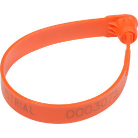 "global industrial™ fixed length plastic truck seal, 7.5"" orange, 60lbs pull force, 100/pack"