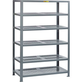 "little giant® 6shp-2460-72 heavy-duty perforated steel shelving, 24"" x 60"", 6 shelves"