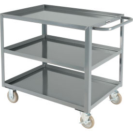 "global industrial™ welded steel utility cart, 3 tray shelves, 24""wx36""l"