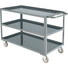 "global industrial™ welded steel utility cart, 3 tray shelves, 24""wx48""l"