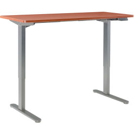 "interion® electric height adjustable standing desk, 60""w x 30""d, cherry w/ gray base Interion® Electric Height Adjustable Standing Desk, 60""W x 30""D, Cherry W/ Gray Base"