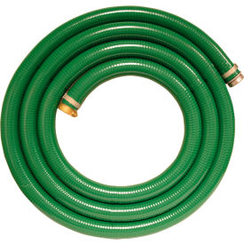 "98128055 Apache 98128055 3"" x 20 Green PVC Water Suction Hose Assembly w/M x F Aluminum Short Shank Fittings"