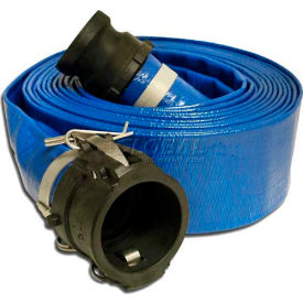 "98138049 Apache 98138049 2"" x 50 PVC Lay Flat Discharge Hose w/ C x E Poly Cam & Groove Fittings"
