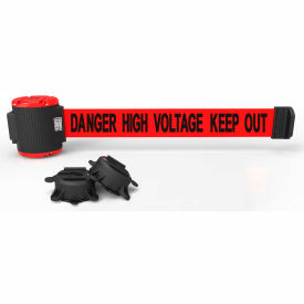 "banner stakes mh5010 - 30 magnetic wall mount barrier, ""danger high voltage keep out"" banner Banner Stakes MH5010 - 30 Magnetic Wall Mount Barrier, ""Danger High Voltage Keep Out"" Banner"