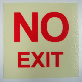 "no exit"" rigid pvc sign, self-adhesive, 5""w x 5""l, photoluminescent yellowish/red NO EXIT"" Rigid PVC Sign, Self-Adhesive, 5""W x 5""L, Photoluminescent Yellowish/Red"