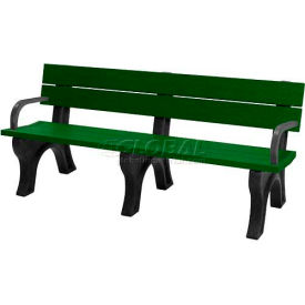 polly products traditional 6 ft. backed bench with arms, green bench/black frame